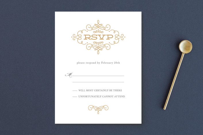"""Ornate Monogram"" - Preppy Rsvp Postcards in Faux Gold by Kristen Smith."