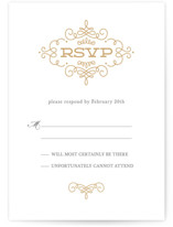 This is a brown rsvp postcard by Kristen Smith called Ornate Monogram printing on signature.