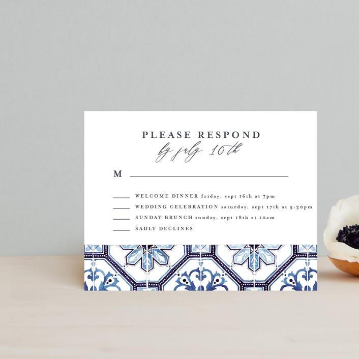 """""""watercolor azulejo"""" - Rsvp Postcards in Azure by Anastasia Makarova."""