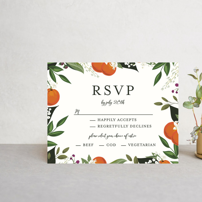 """Orange Blossoms"" - Rsvp Postcards in Pearl by Susan Moyal."