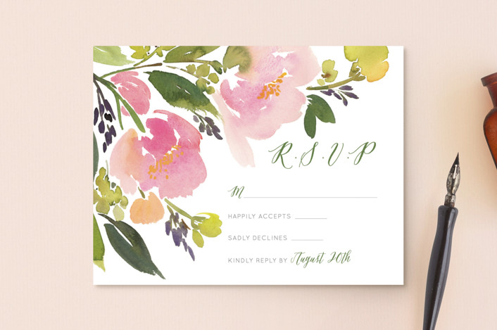 """""""Watercolor Floral"""" - Rsvp Postcards in Olive by Yao Cheng Design."""