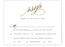 This is a white rsvp postcard by Jennifer Postorino called Flourish printing on signature.