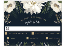 This is a white rsvp postcard by Susan Moyal called Peonies & Berries printing on signature.