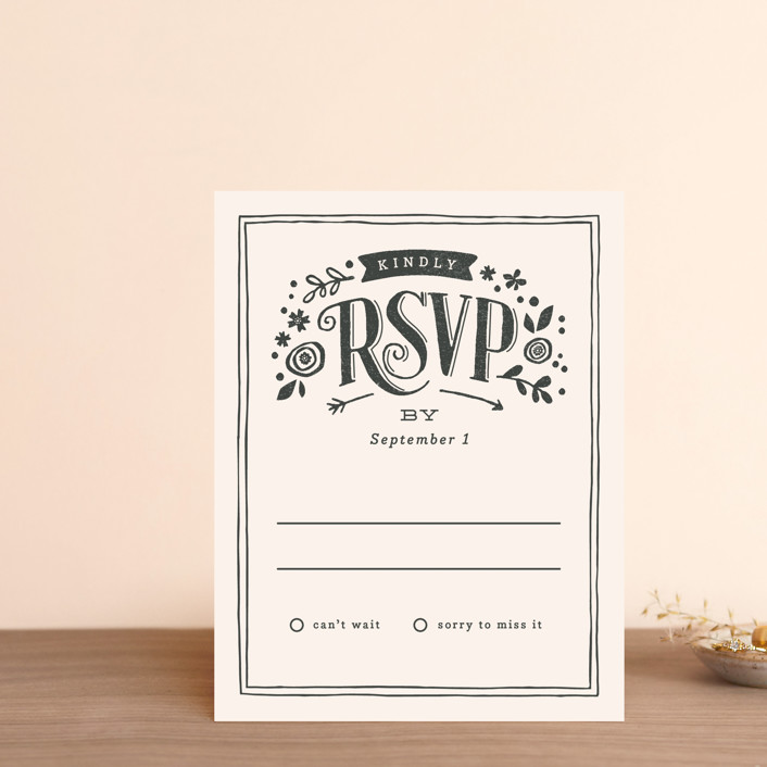 """Alabaster Florals"" - Rustic Rsvp Postcards in Slate by Jennifer Wick."