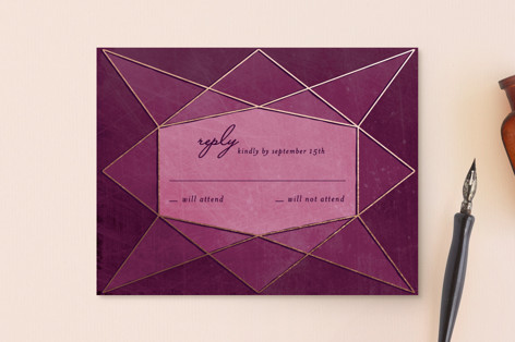 Abstract Jewel RSVP Postcards