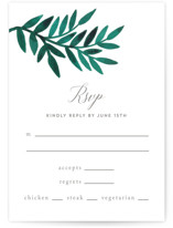This is a green rsvp postcard by Katharine Watson called Painted Greenery printing on signature.