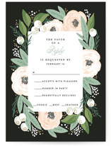 This is a black rsvp postcard by Alethea and Ruth called Blooming Bouquet printing on signature.
