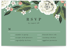 This is a green rsvp postcard by Alethea and Ruth called Climbing Rose printing on signature.