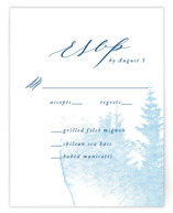 This is a blue rsvp postcard by Ariel Rutland called misty forest printing on signature.