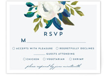 This is a blue rsvp postcard by AK Graphics called Our Something Blue printing on signature in postcard.