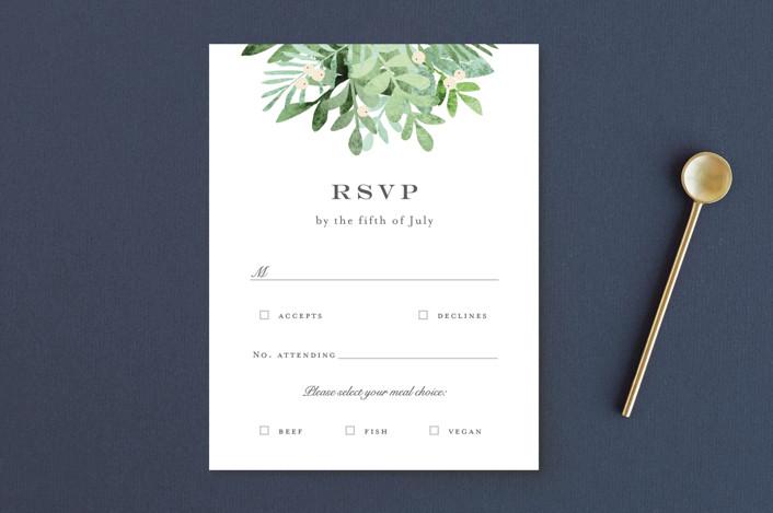 """Leafy ampersand"" - Rsvp Postcards in Mint Leaf by Jennifer Wick."