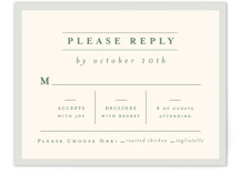 This is a green rsvp postcard by Amy Kross called Blue Ridge printing on signature.