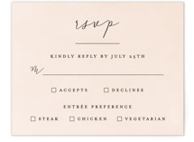 This is a pink rsvp postcard by Brianne Larsen called Simply Perfect printing on signature in postcard.