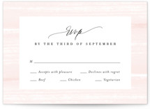 This is a pink rsvp postcard by Kristie Kern called Effervescent printing on signature.