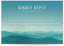This is a blue rsvp postcard by Kelly Schmidt called Misty Mountain Range printing on signature.
