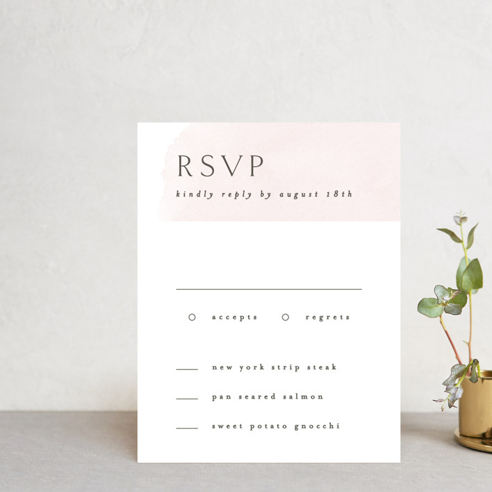 """""""Softly Layered"""" - Rsvp Postcards in Blush by Everett Paper Goods."""