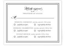 This is a black and white rsvp card by Kimberly FitzSimons called Eloquence with standard printing on signature in standard.