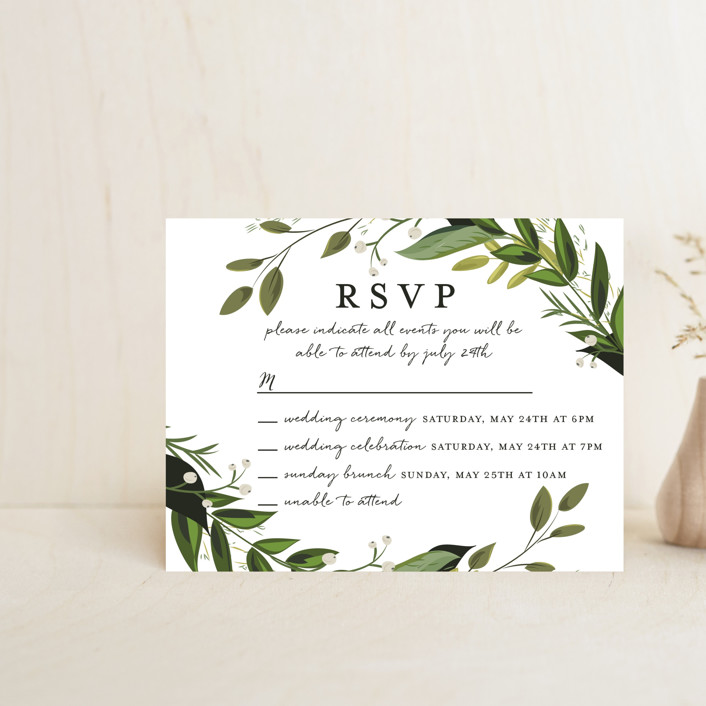 """""""Vines of Green"""" - Multi-event Rsvp Cards in Fern by Susan Moyal."""