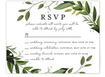 This is a green rsvp card by Susan Moyal called Vines of Green with standard printing on signature in standard.