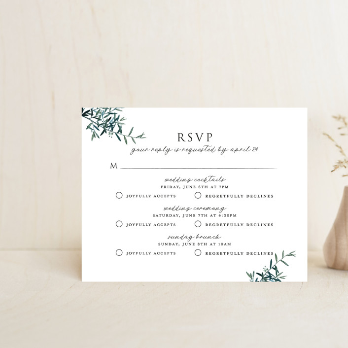 """Fresh Sage"" - Multi-event Rsvp Cards in Olive by Christie Kelly."
