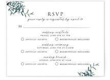 This is a green rsvp card by Christie Kelly called Fresh Sage with standard printing on signature in standard.