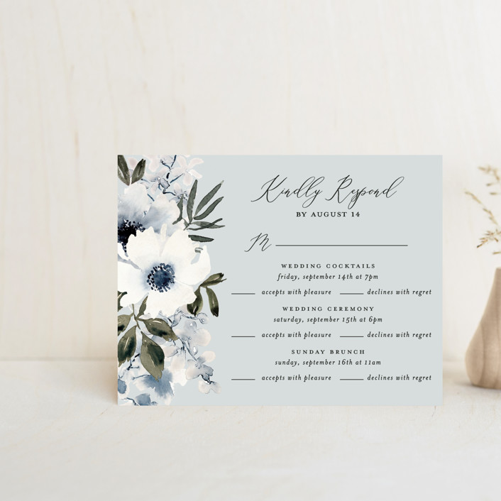 """""""Nantucket Romance"""" - Multi-event Rsvp Cards in Marine by Chris Griffith."""