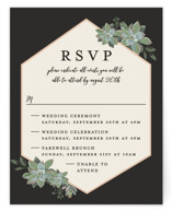 This is a black rsvp card by Susan Moyal called Succulent Surround with standard printing on signature in standard.