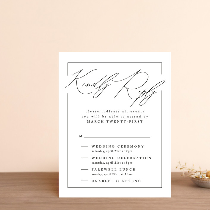 """""""Love Story"""" - Multi-event Rsvp Cards in Alabaster by Liz Conley."""