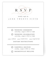 This is a pink rsvp card by Pixel and Hank called First Love with standard printing on signature in standard.