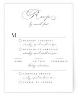 This is a white rsvp card by Keen Peachy called Sweet Nothings with standard printing on signature in standard.