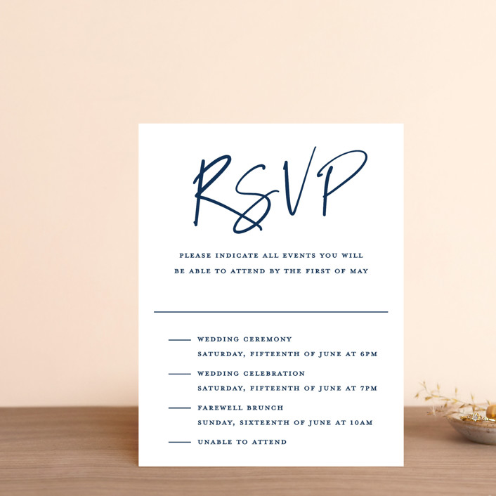 """Semi Formal"" - Multi-event Rsvp Cards in Navy by Kerry Doyle - Paper Dahlia."