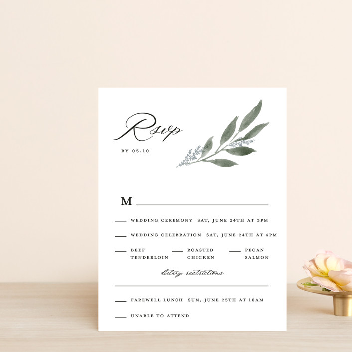 """Pressed Foliage"" - Multi-event Rsvp Cards in Heather by Stacey Meacham."