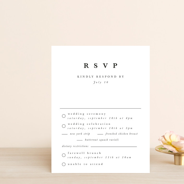 """""""leafy wreath"""" - Multi-event Rsvp Cards in Cotton by Kate Ahn."""