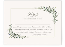 This is a beige rsvp card by Lori Wemple called Green Wreath with standard printing on signature in standard.