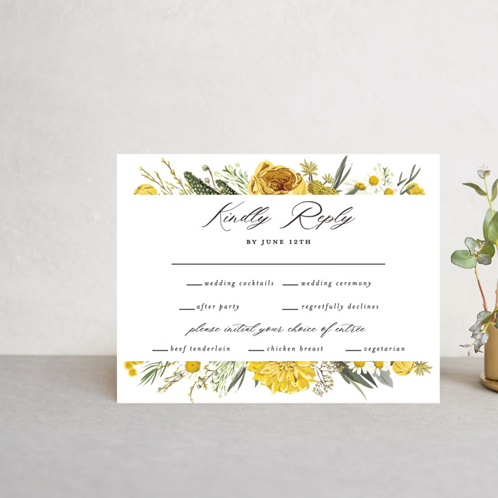 """Organic Florals"" - Multi-event Rsvp Cards in Honey by Susan Moyal."