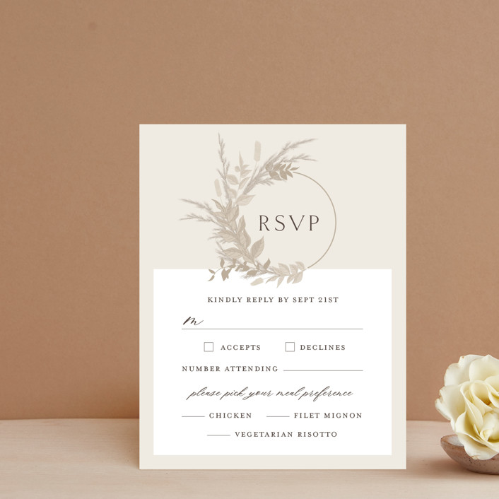 """""""Preserved Fall Botanicals"""" - Bohemian Rsvp Cards in Linen by Erin Deegan."""