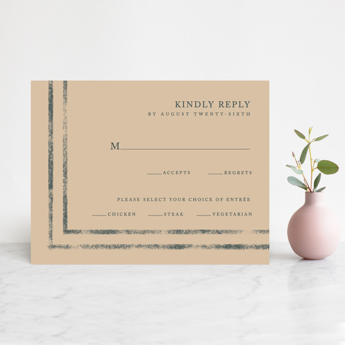 """Simply Modern"" - Modern Rsvp Cards in Jade by Something Noir."