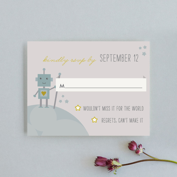 """""""Infinity & Beyond"""" - Whimsical & Funny, Modern Rsvp Cards in Slate by Dawn Jasper."""