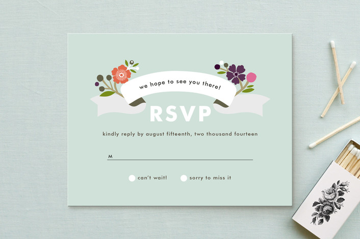 """""""Banner and Branches"""" - Rustic, Floral & Botanical Rsvp Cards in Soft Beige by Alethea and Ruth."""