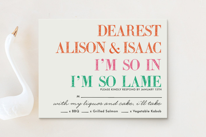 """Launch Party of a Lifetime"" - Modern, Bold typographic Rsvp Cards in Black by hi-lighter inc.."