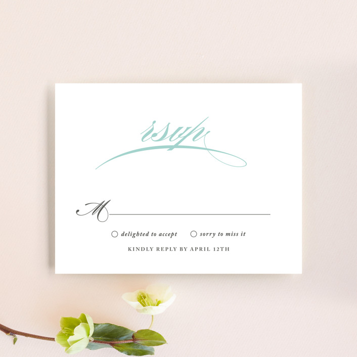 """Cordial Flourish"" - Bold typographic, Traditional Rsvp Cards in Arctic by Olivia Raufman."