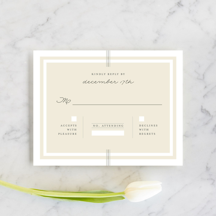 """""""Three Classic Lines"""" - Formal, Classical Rsvp Cards in Barley by fatfatin."""