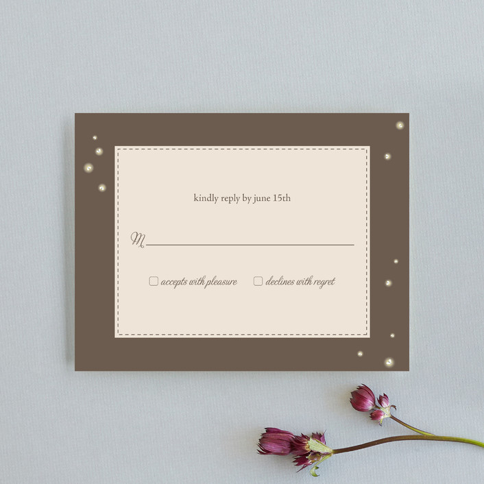 """Fireflies"" - Rustic, Vintage Rsvp Cards in Lilac Haze by Paige Rothhaar."