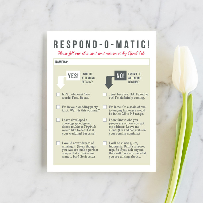 """Invitation-O-Matic"" - Rsvp Cards in Khaki by Erin Pescetto."