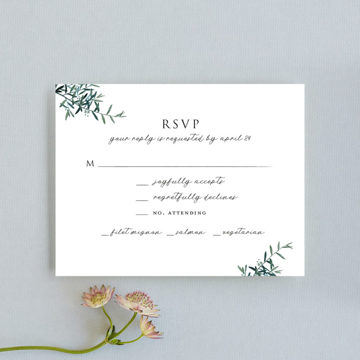 """Fresh Sage"" - Rustic Rsvp Cards in Olive by Christie Kelly."