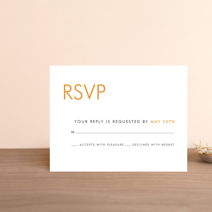 """Minimalist Display"" - Rsvp Cards in Orange by Coco and Ellie Design."