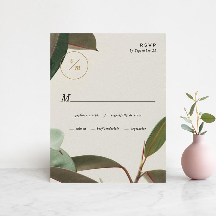 """Powder Room Florals"" - Rsvp Cards in Cream by Ariel Rutland."