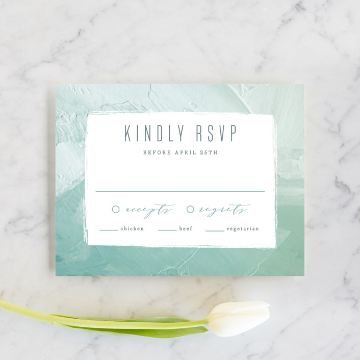 """Painted Sea"" - Modern Rsvp Cards in Seafoam by Hooray Creative."