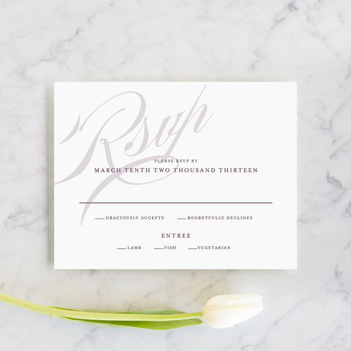 """Framed"" - Elegant, Simple Rsvp Cards in Plum by Roxy Cervantes."