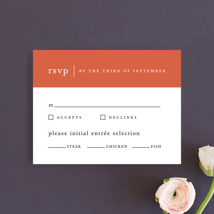 """Evermore"" - Modern Rsvp Cards in Harvest by carly reed walker."